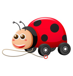 Ladybug with wheels and string vector