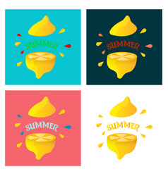 lemon fruit set in flat design vector image