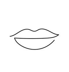 Lips continuous one line drawing art vector