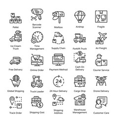 Logistics and delivery line icons pack vector
