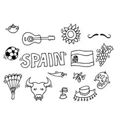 Love spain doodles symbols spain vector