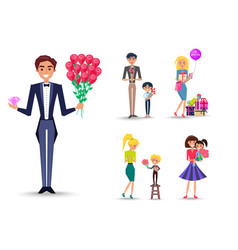 Man in tuxedo with bouquet of roses and diamond vector