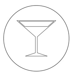 martini glass icon black color in circle or round vector image