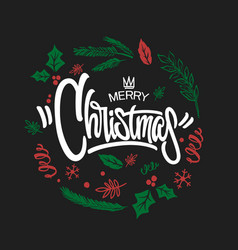 merry christmas lettering design graphic vector image