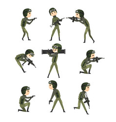 military man in various actions set soldier vector image