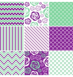 Mint And Purple Seamless Patterns vector