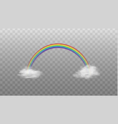 mockup rainbow color arch on clouds realistic vector image