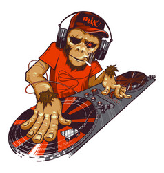 monkey dj and mixing console vector image