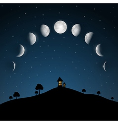 moon phases night landscape with trees and house vector image