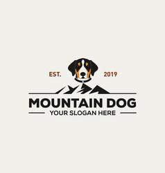 mountain dog logo design vector image