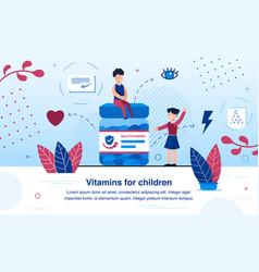 multivitamins for children flat banner vector image