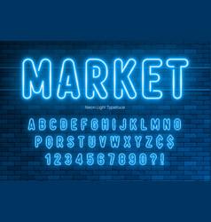 Neon light alphabet extra glowing font design vector