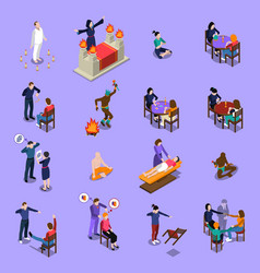 Paranormal abilities isometric set vector