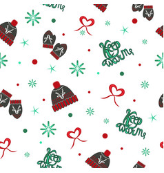 pattern knitted hats and mittens vector image