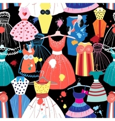 pattern of fashionable dresses vector image