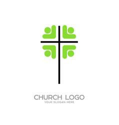 People around the cross vector