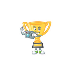 Photographer icon character gold trophy with vector
