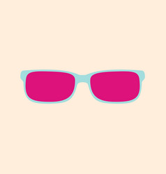 pink glasses on a yellow background vector image