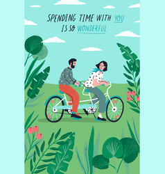 poster template with cute couple riding tandem vector image