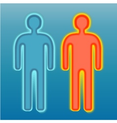Red and blue human silhouette vector