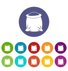 Sack full of flour set icons vector