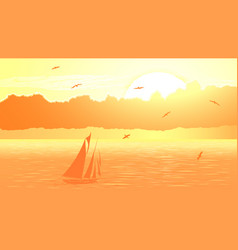 sailboat against orange sunset vector image