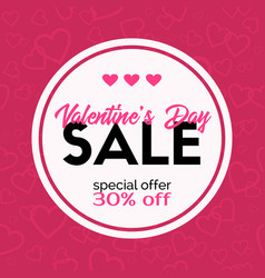 Sale banner valentines day discount card vector