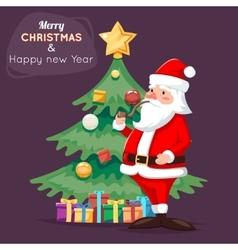 Santa Claus Character Icon Christmas Tree vector image