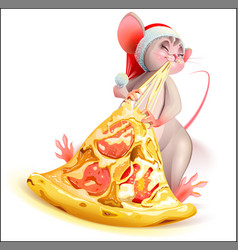 Santa mouse character 2020 year eating pizza with vector
