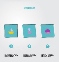 set of baby icons flat style symbols with boat vector image