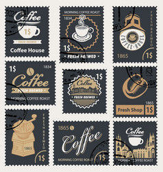 set of retro stamps on the theme of coffee vector image