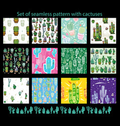 Set of seamless pattern with cute cactuses vector