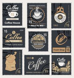 set retro stamps on theme coffee vector image