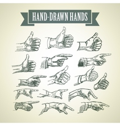 Set vintage hand-painted hands vector