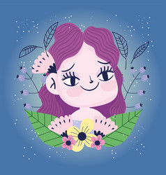 Smiling girl with flowers leaves nature botany vector