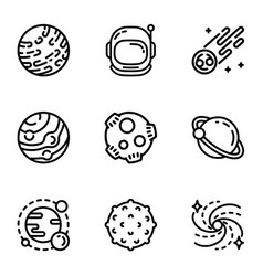 Space astronomy icon set outline style vector