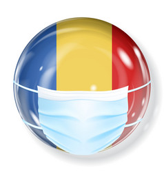 Sphere in flag colors with medical mask vector