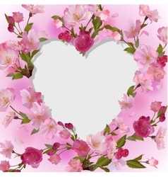 Spring background with heart in flowers vector