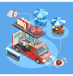 Street Food Trucks Service Isometric Poster vector