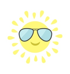 Sun shining icon sun face with pilot sunglassess vector