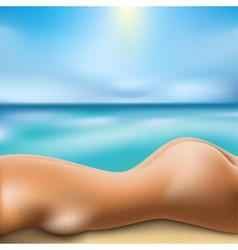 sunbathing woman vector image