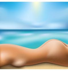 sunbathing woman vector image