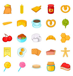 Sweetness icons set cartoon style vector