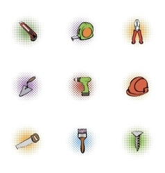 Tools icons set pop-art style vector