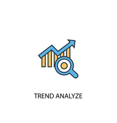 Trend analyze concept 2 colored line icon simple vector