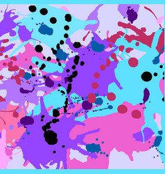 Turquoise purple pink black ink splashes vector
