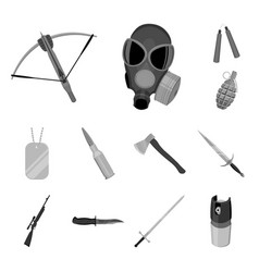 Types of weapons monochrome icons in set vector