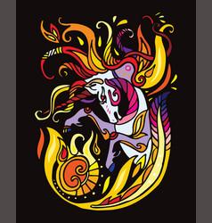 Unicorn black vector