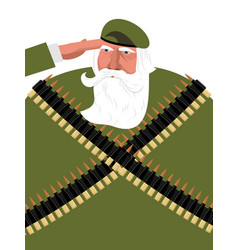 Veteran with gray beard grandpa soldiers old vector