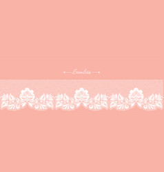 vintage coral floral seamless lace trim header vector image